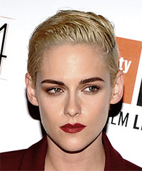 Kristen Stewart Short Straight Casual  Pixie  Hairstyle   - Light Platinum Blonde Hair Color