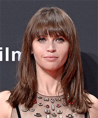 Felicity Jones Long Straight Formal    Hairstyle with Blunt Cut Bangs  -  Brunette Hair Color