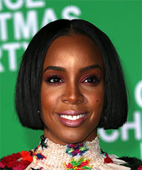 Kelly Rowland Short Straight Casual  Bob  Hairstyle   - Black  Hair Color