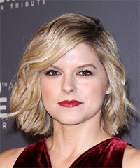 Kate Bolduan Short Wavy Casual  Bob  Hairstyle with Side Swept Bangs  - Light Ash Blonde Hair Color