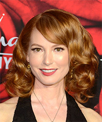 Alicia Witt Voluminous Medium Wavy Formal    Hairstyle with Side Swept Bangs  -  Red Hair Color