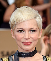 Michelle Williams Sleek Short Straight Casual  Pixie  Hairstyle with Side Swept Bangs  - Light Platinum Blonde Hair Color