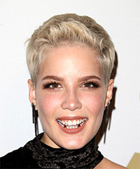 Halsey Short Straight Casual  Pixie  Hairstyle   - Light Blonde Hair Color