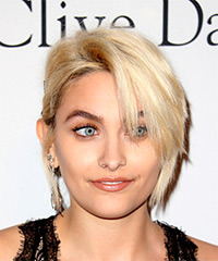 Paris Jackson Short Straight Casual  Shag  Hairstyle with Side Swept Bangs  - Light Blonde Hair Color