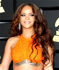 Rihanna Long Wavy Casual   Hairstyle   - Dark Brunette