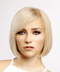 Short Straight   Light Blonde Bob  Haircut with Side Swept Bangs