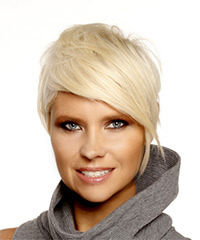 Short Straight Formal  Pixie  Hairstyle with Side Swept Bangs  - Light Platinum Blonde Hair Color