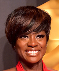 Viola Davis Short Straight Formal  Pixie  Hairstyle with Side Swept Bangs  - Dark Brunette Hair Color with Dark Red Highlights