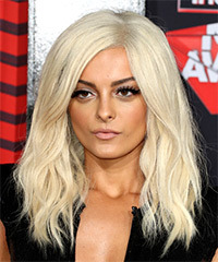 Bebe Rexha Long Wavy Casual    Hairstyle   - Light Blonde Hair Color