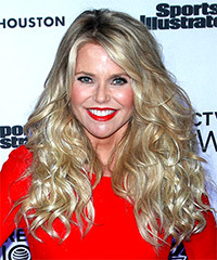 Christie Brinkley Long Curly Casual    Hairstyle with Side Swept Bangs  - Light Blonde Hair Color