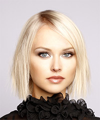 Short Straight Formal  Bob  Hairstyle with Side Swept Bangs  - Light Platinum Blonde Hair Color