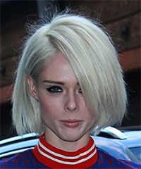 Coco Rocha Short Straight Casual  Bob  Hairstyle   - Light Platinum Blonde Hair Color
