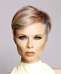 Short Straight Formal  Pixie  Hairstyle with Side Swept Bangs  - Light Blonde and Blue Two-Tone Hair Color with Pink Highlights