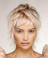 Short Wavy Formal  Shag  Hairstyle with Layered Bangs  - Light Blonde Hair Color