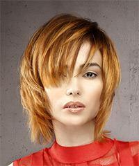 Short Straight Formal  Shag  Hairstyle with Layered Bangs  -  Ginger Red Hair Color