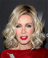 Donna Mills Medium Wavy Casual  Bob  Hairstyle with Side Swept Bangs  - Light Blonde Hair Color
