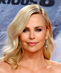 Charlize Theron Medium Wavy Casual  Bob  Hairstyle   - Light Blonde Hair Color