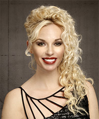 Long Curly Formal   Half Up Hairstyle   - Light Blonde Hair Color