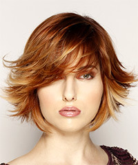 Short Straight Formal    Hairstyle with Side Swept Bangs  - Medium Red Hair Color with Light Blonde Highlights
