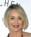 Sharon Stone Short Straight Casual  Bob  Hairstyle   -  Blonde Hair Color