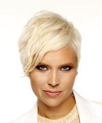 Short Straight Casual  Pixie  Hairstyle with Side Swept Bangs  - Light Platinum Blonde Hair Color