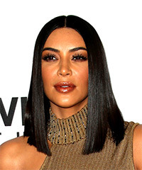 Kim Kardashian Medium Straight Formal  Bob  Hairstyle   - Black  Hair Color