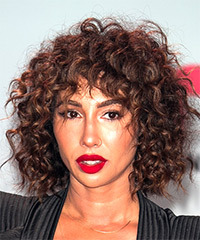 Jackie Cruz Short Curly Casual  Shag  Hairstyle with Layered Bangs  - Dark Brunette Hair Color