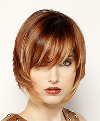 Short Straight Formal Layered Bob  Hairstyle with Side Swept Bangs  - Dark Red Hair Color with  Blonde Highlights