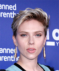 Scarlett Johansson Short Wavy Casual  Pixie  Hairstyle   - Dark Blonde Hair Color with Light Blonde Highlights
