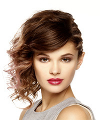 Medium Wavy Casual Asymmetrical Updo Hairstyle with Side Swept Bangs  - Medium Brunette