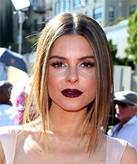 Maria Menounos Medium Straight Formal  Bob  Hairstyle   -  Brunette Hair Color with Dark Blonde Highlights