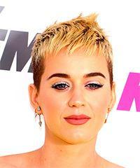 Katy Perry     Light Blonde Pixie  Cut with Razor Cut Bangs
