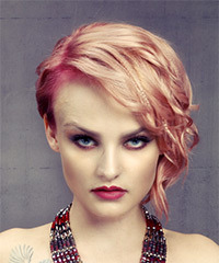 Short Wavy Casual  Asymmetrical  Hairstyle   - Light Blonde and Pink Two-Tone Hair Color