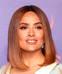 Salma Hayek Medium Straight Formal  Bob  Hairstyle   -  Brunette Hair Color