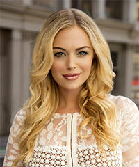 Long Wavy Formal    Hairstyle   - Light Blonde Hair Color