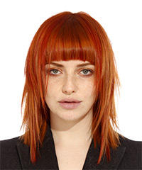 Medium Straight Formal    Hairstyle with Blunt Cut Bangs  - Orange  Hair Color