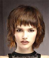 Short Straight Casual Shag  Hairstyle with Layered Bangs  - Medium Brunette