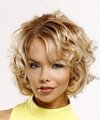 Short Curly Casual    Hairstyle with Side Swept Bangs  - Light Blonde Hair Color