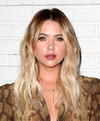 Ashley Benson Long Wavy Casual    Hairstyle   - Light Blonde Hair Color