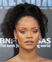 Rihanna Long Curly Casual   Updo Hairstyle   - Black  Hair Color