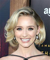 Greer Grammer Short Wavy Formal  Bob  Hairstyle   - Light Blonde Hair Color