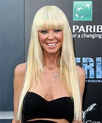Tara Reid Long Straight   Light Blonde   Hairstyle with Blunt Cut Bangs