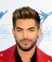 Adam Lambert Short Straight Casual    Hairstyle   -  Brunette Hair Color with  Blonde Highlights