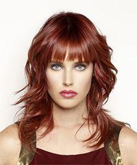Long Wavy Casual    Hairstyle with Blunt Cut Bangs  - Dark Red Hair Color