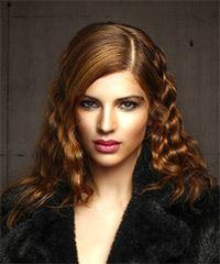 Medium Curly Formal    Hairstyle   - Dark Red Hair Color