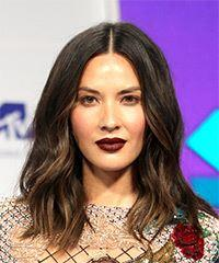 Olivia Munn Medium Straight Casual  Bob  Hairstyle   - Dark Brunette Hair Color with  Brunette Highlights