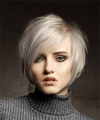 Short Straight Casual  Shag  Hairstyle with Side Swept Bangs  - Light Platinum Blonde Hair Color