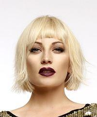Short Straight Casual  Bob  Hairstyle with Blunt Cut Bangs  - Light Blonde Hair Color