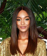 Jourdan Dunn Long Straight Formal    Hairstyle   -  Brunette and Auburn Two-Tone Hair Color