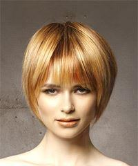 Short Straight Casual  Bob  Hairstyle with Layered Bangs  - Light Red Hair Color